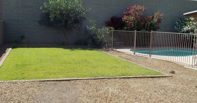 Fenced yard to practice your putt or play with your pooch