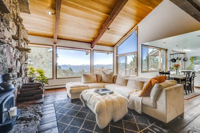 The front door opens into  a retreat with a spectacular view.