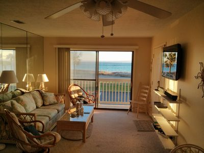 Enjoy an unobstructed gulf view from the living room with pull-out sofa