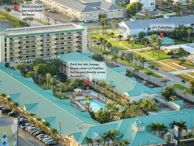 Aerial view shows proximity to hotel where all amenities are available.  In the upper left-hand corner you can see the beach access.