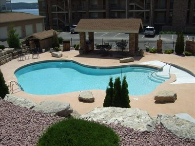 Enjoy the View pool with covered area to grill, eat and relax