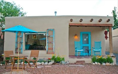 Photo for ** Historic Adobe w Hot Tub on Canyon Road**  Casita with Hot tub and Bikes!