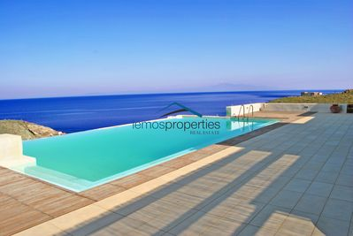 The large sea water swimming pool with a large terrace