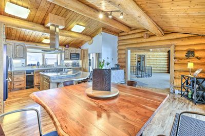 Inside the Fairbanks vacation rental, discover high-ceilings and exposed beams.