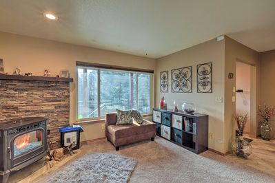 Cuddle up in the living area while the wood-burning stove keeps everyone toasty.