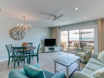 Photo for Fresh Coastal Renovated Gulf Front Townhouse 2 BR 2BA, WiFi, Next to Schooners