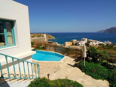 Photo for As soon as you take the stone-paved walkway leading to the exterior area of Villa Mochlou, enclosed