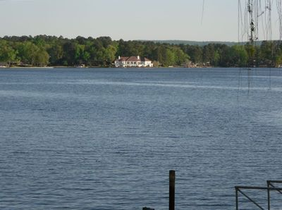 View of Lake Hamilton with deck extending over the lake