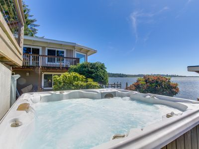 Photo for Premier lakefront home w/ private hot tub, gorgeous views & dock - dogs OK!