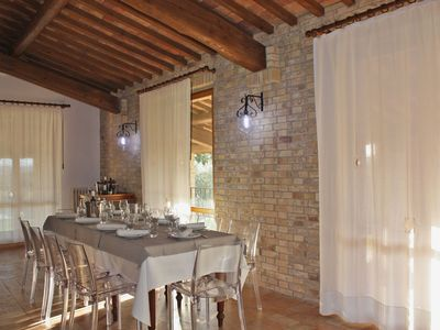 San Costanzo Villa Rental   Wide Dining Area With Fireplace