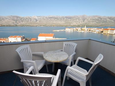 Photo for Two bedroom apartment with terrace and sea view Vinjerac (Zadar)