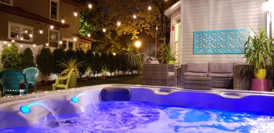 Hot Tub!  Lights and waterfalls with string lights - really cool at night!