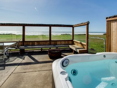Dog-friendly oceanfront beach home w/ private hot tub and stunning ocean views!