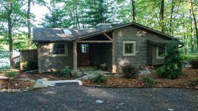 Photo for Cozy, luxurious cabin; beautiful views; nice elevation w/beach; ski right out!