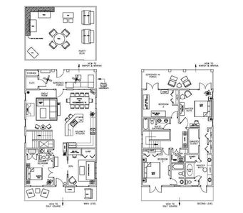 A spaceplane of the home shows the furniture function & layout & the party deck.