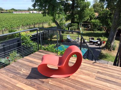 Photo for Design villa in the vineyards of Chateau Pape Clement with pool and spa