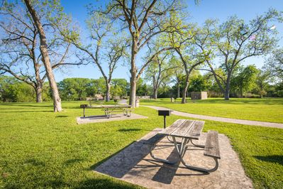 Many Picnic Tables under the Shady Pecan Trees