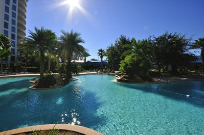 Lagoon Pool. Destin's largest pool at 11,000 sq-ft in 2.2 acre oasis.