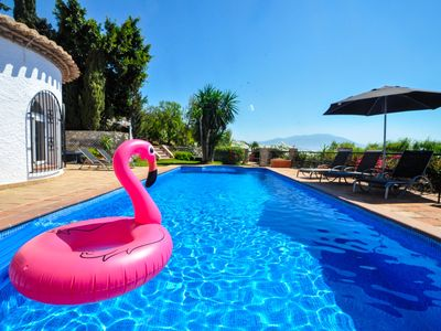 Photo for Luxury villa with five bedrooms, stunning views and private heatable pool
