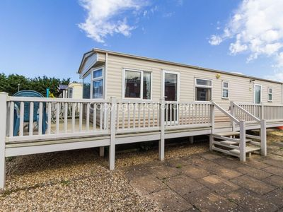 Photo for Cheap dog friendly 4 caravan for hire with decking in Suffolk ref 40094