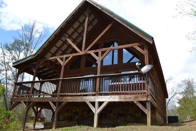 Front view of the cabin (faces wooded area)