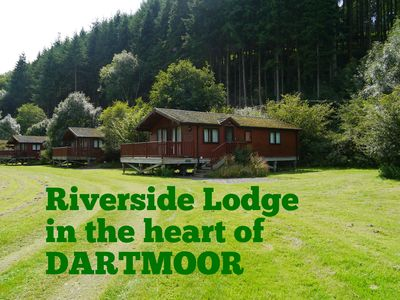 Photo for Spacious Riverside Lodge in a beautiful wooded Dartmoor valley **pet friendly**