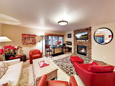 Living Room - Welcome to Taos Ski Valley! The stylish living room includes an inviting gas fireplace and seating for 5.