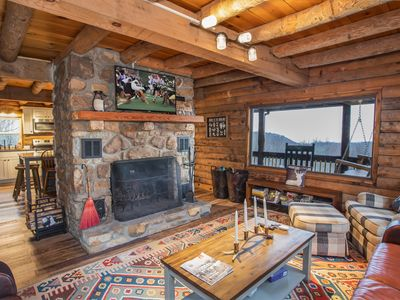Photo for 4BR Log Cabin with Long Range Views, Fire Pit, Hot Tub, renovated Kitchen, only 2mi to Ski Slopes!