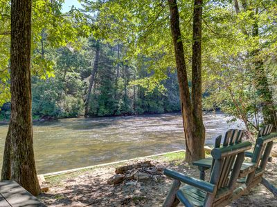Photo for Fish & raft at this riverfront home w/ hot tub, firepit & large screened porch!