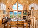 Upstairs dining area with mountain view.