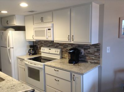 Renovated kitchen. We offer a regular coffee maker and a Kuerig.