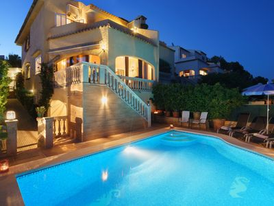 Photo for Family Holiday villa with private pool in front the sea in Alcudia, Aucanada