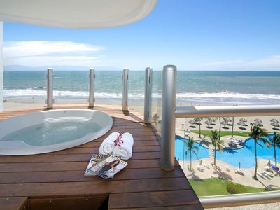 Photo for Luxury condo in private complex in Nuevo Vallarta right on sandy beach