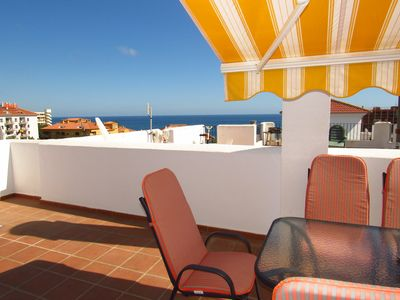 Photo for 2 bedroom duplex penthouse with large solarium 250m from the beach