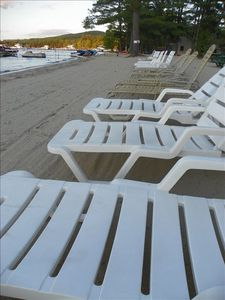 Lounge chairs and beach chairs waiting for you on the beach!