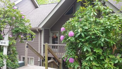 Springtime at our mountain condo, tucked into the rhododendrons, is peaceful