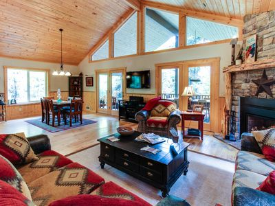 Photo for Amazing two-story lodge w/ hot tub & firepit - secluded, three miles from town!