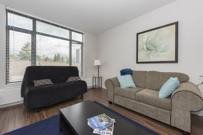 Large open plan living space. Sofa bed for extra guests