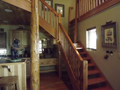 Stairs leading to the 2 lofts and upstairs bedroom/bath