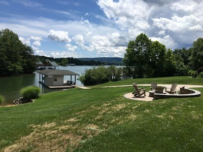 View to mountains and boat dock from lower patio.