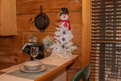 Frosty welcoming you to Marietta's Dream this Christmas Season!