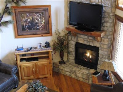 Stone Gas Fireplace, Cable and  Internet
