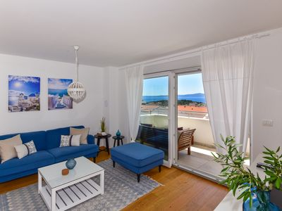 Photo for Exclusive 88 sqm apartment, sea view, WiFi, air conditioning, parking, balcony