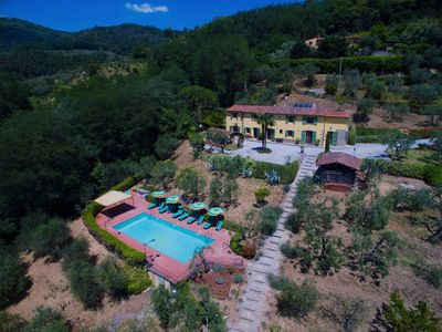 Photo for Panoramic villa rental with pool in Massa e Cozzile, Tuscany