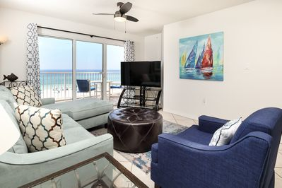 Beautifully upgraded Gulf front living room - Gulf Dunes 416 is now a coastal paradise!