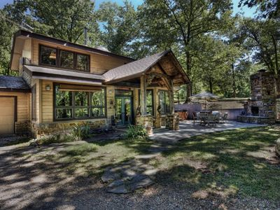 Photo for Wits End Cabin On 65 Gated Acres, Amazing Outdoor Fireplace & Hot Tub