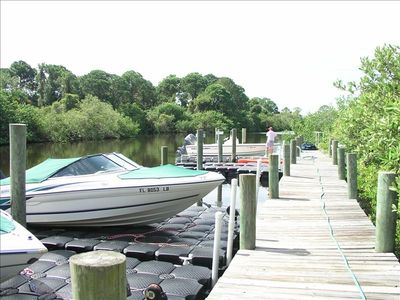 Private boat dock and fishing pier on site