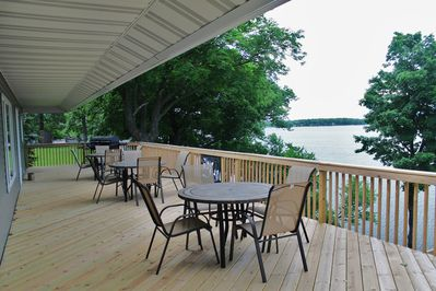 Lakeside Deck 3 Tables with 12 chairs and Charcoal/Gas Combination Grill