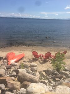 Photo for Lakefront,  private beach, dock, kayaks, Paddle Boat and pet friendly!