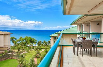 Photo for Maui Resort Rentals: Hokulani 820 –  Top Floor 2BR w/ Ocean & Mountain Views + X L Balcony